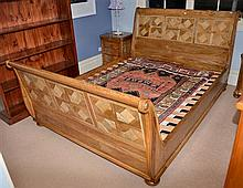 ELTHAM SLEIGH QUEEN SIZE BED WITH MARBLE INLAY