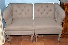 PAIR OF MATCHING CORNER CHAIRS IN LINEN W/ OAK LEGS