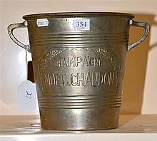 FRENCH ART DECO 'MOET AND CHANDON' SILVERED BRASS CHAMPAGNE BUCKET