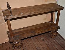 PORTERS CART CONSOLE, RECYCLED EAST INDIAN WALNUT