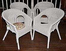 4 WHITE PAINTED OUTDOOR CHAIRS