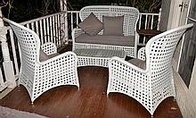 5 PIECE OUTDOOR CANE SETTING WITH SCATTER CUSHIONS
