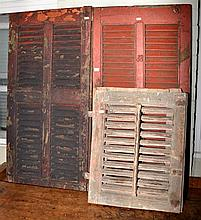 A SET OF FOUR EXTERNAL ANTIQUE SHUTTERS H: 57CM D:107CM W: 103CM