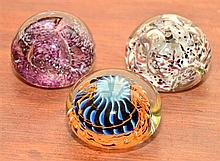 Collection of  (3) Paper Weights (Melting Pot Studio, W.A.), hand blown art glass, each inscribed & dated on base