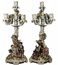German Pair of Figural Candelabra