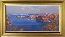 Ken Knight (1956 -) - Sydney Harbour From Mosman 39 x 78cm