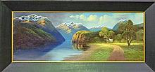James Robert Hutchings (1872 - 1962) - Lake Scene, New Zealand 42.5 x 111.5cm
