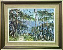 John Emmett (1927 - ) - Into The Blue Mountain, Katoomba 29 x 40cm