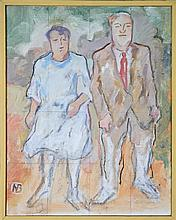 Nancy Borlase (1914 - 2006) (3 works) - Lorna Gilmore, Study of Doreen and Les Walking Out, Marie on Two Sticks 45.5 x 35.5cm, 50 x...
