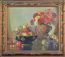 George Whinnen (1891 - 1950) - Fruit & Flowers in Oriental Vase,. Still Life 60 x 70cm