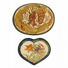 TWO ANTIQUE SATSUMA BROOCHES; one heart shaped with floral motif, the other oval depicting dragon in clouds, both 46mm in width