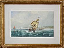 Richmond W. Markes (XIX - XX) - Ship On The Sea 31.5 x 51.5cm