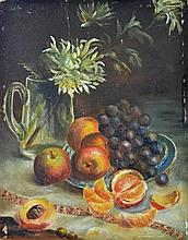 Artist Unknown - Still Life Flowers & Fruit 31 x 23cm