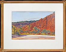 Albert Namatjira (1902 - 1959) - The Red Walls Of Glen Helen Valley 34 x 51cm