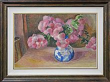 Roland Wakelin (1887 - 1971) - Pink Asters In A Willow Pattern 38 x 60cm