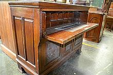Late Victorian Carved Oak Secretaire Cabinet with fitted interior & 2 Panel doors.(key in office)