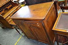 19th Century Small French Oak Cabinet, with two carved panel doors enclosing two small drawers & shelf (key in office)