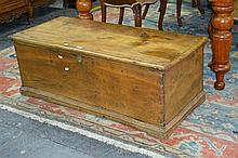 19th Century Elm Chest with Hinged Lid