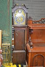 Late Georgian Scottish Oak and Mahogany Long Caser Clock with Gild Brass and Silvered Dial Signed William Rutherford, Jedburgh (key...