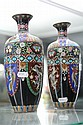 Chinese Cloisonne Pair of Vases Decorated with Phoenix & Dragons