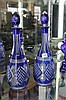 Pair of Blue Cased Cut Crystal Decanters