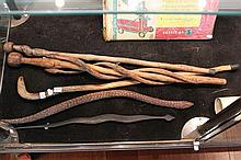 Collection of Carved Organic Walking Sticks and Others