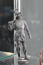 Late 19th Century Pewter Figure of Renaissance knight in Dragon Armour a.f