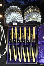 Cased Set of Fish Knives and Forks and EP Biscuit Trays