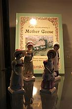 4 Royal Doulton Kate Greenaway Figures a.f and Book