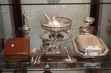 Assorted Silver Plated Wares incl Toilet Set, Tray and Caster