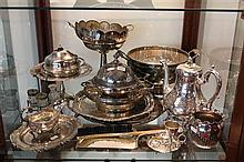 Collection of Silver Plated Wares incl Trays, Coffee Pot, Bowls, etc