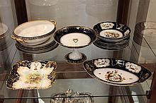 Blue and Gilt Dinner Wares incl Doulton, Limoges, and Bavaria
