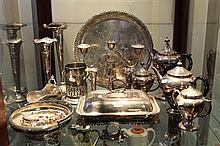Collection of Silver Plated Wares incl Tea and Coffee Set, Candelabra, Vases, Sugar Hod, etc