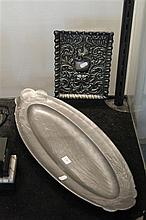 Art Nouveau Pewter Fish Tray and EP Tray