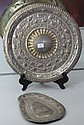 Silver Tray in Shape of Sri Lanka and a Round Tray with Embossed Animals