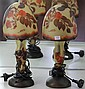 Pair of Cameo Glass Mushroom Lamps in the Style of Galle