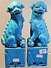 Pair of Chinese Turquoise Glazed Shishi