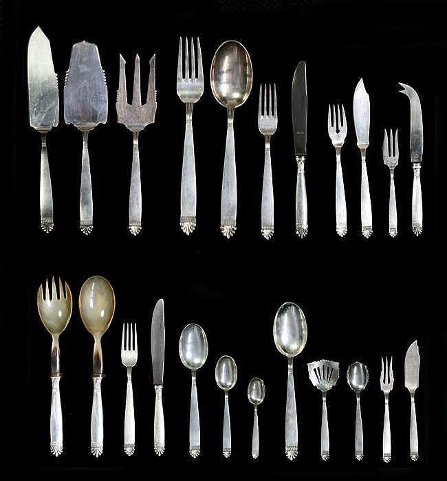Continental Silver Extensive Cutlery Setting for Eight Persons