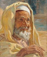 MILOUD BUKERCHE Portrait of an elderly Arab man.