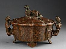 CHINESE RED BRONZE 'CHILONG' INCENSE BURNER
