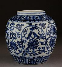 A QING PERIOD XUANDE MARKED BLUE AND WHITE 'LOTUS' JAR