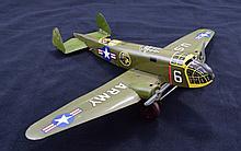 Marx Tin Wind-Up Military Airplane.