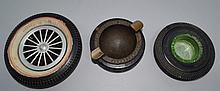 Three Vintage Tire Advertising Ashtrays.