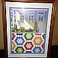 Rebecca Barker Colorful Quiltscape Signed & #145/300 Print! Matted & Framed