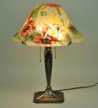 TIVOLI REVERSE PAINTED GLASS LAMP BY PAIRPOINT