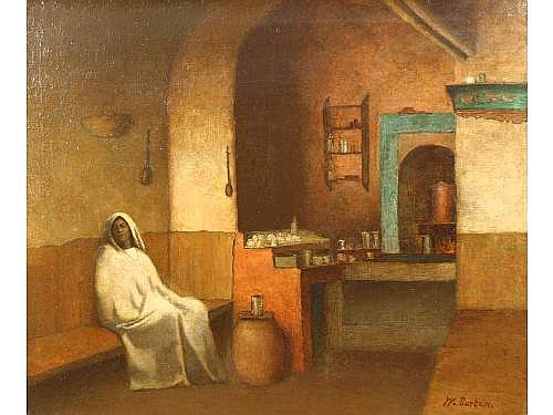 William Sartain (NY, 1843-1924), Algerian Cafe,