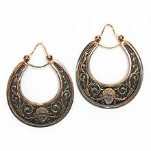 Antique Silver and Gold Ear Hoops, Russian