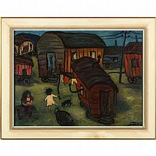 German Expressionist School Painting of Gypsies