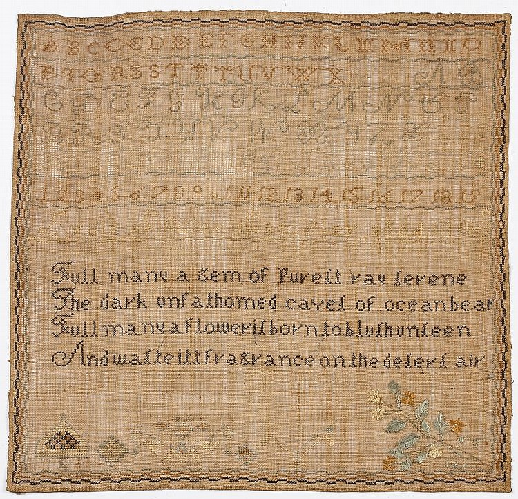 American Needlework Sampler, 1830