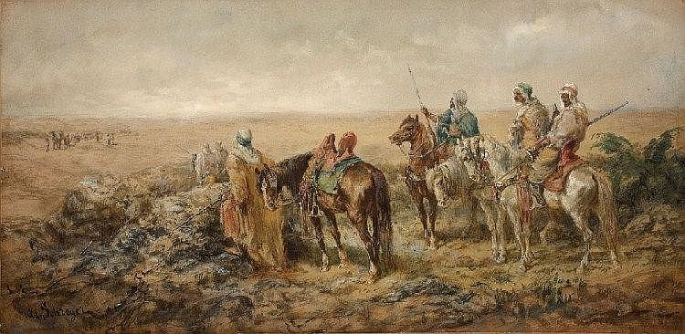 ADOLF SCHREYER, BEDOUINS LOOKING OUT FOR A CARAVAN